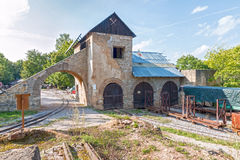 Old Mine Building with tracks and train Stock Images