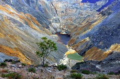 Old mine. Old open pit copper mine in Bor depth of about 800 meters Stock Photos
