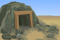 Old mine with shovel and pick. Old mine desert landscape vector illustration Royalty Free Stock Image