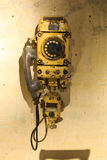 Old mine telephone. Old iron telephone used in coal mines stock images