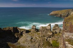 Old mine workings and Cornish cliffs near Tintagel Royalty Free Stock Photo