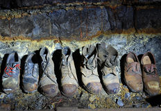 Old miner's boots Stock Images