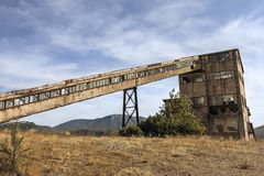 Old mines with a mine shaft tower Royalty Free Stock Images