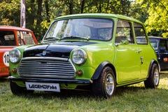 Old Mini Cooper car made to look like Mr. Bean`s. PRAGUE, CZECH REPUBLIC - JUNE 10th 2017: Old Mini Cooper car made to look like Mr. Bean`s on display during Stock Photos