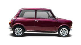 Old Mini Cooper. Old classic Mini Cooper isolated on white Royalty Free Stock Photo