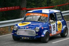 Old Mini Cooper S racing at Rampa da Falperra 2012 Royalty Free Stock Image