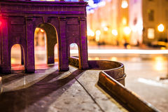 Old miniature bridge with bokeh Royalty Free Stock Images