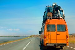 An old minibus is used to move to a new place of residence. royalty free stock photography