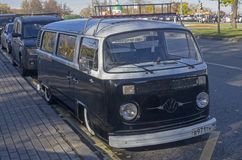 Old minibus Volkswagen Transporter T2. MOSCOW, RUSSIA - OCTOBER 12, 2013: Old minibus Volkswagen Transporter T2. Open-air retro and vintage cars exhibition at royalty free stock photos
