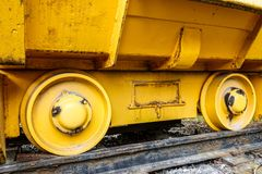 Old mining carriage on rails royalty free stock photography