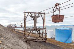 Old mining equipment in Longyearbyen Stock Photo
