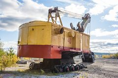 An old mining excavator stock image
