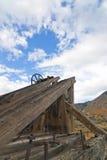 Old Mining Hoist. Old West Mining head frame hoist with wheel, Virginia City, Nevada stock photo