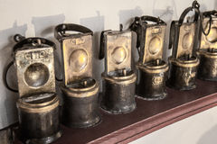 Old mining lamps. Royalty Free Stock Images