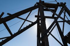 Old mining structure. Silhouette, old mining structure in Goldfield, Arizona Royalty Free Stock Image