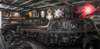 Old Mining Town Car Repair Shop. An old mining town somewhere in Australia. An old showroom to sell cars Royalty Free Stock Photo