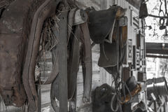Old Mining Town Horse and Sadle. An old mining town somewhere in Australia. Horse barn Royalty Free Stock Photo
