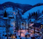Old mining village. At night in winter in Slovakia Stock Photo