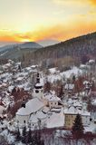 Old mining village. In winter in Slovakia Stock Photo