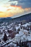 Old mining village. In winter in Slovakia Stock Images