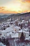 Old mining village. In winter in Slovakia Stock Photos