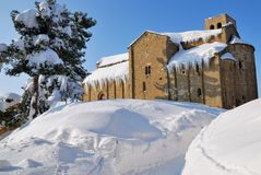 Old minster isolated by the snow Stock Images