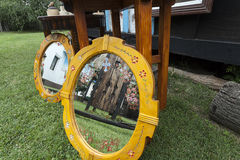 Old mirrors in garden Royalty Free Stock Photo