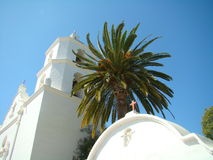 Old Mission belltower. The is the belltower of the Mission San Luis Rey located near Oceanside, CA stock photo