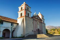 Old mission cathedral view in Santa Barbara, California stock images