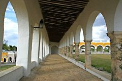 Old Mission Church in Izamal. Hallway of old church in Mexico Royalty Free Stock Image