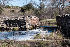 Old Mission Dam with Waterfall in San Diego Stock Photography