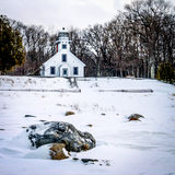 Old Mission Point Lighthouse. In the winter. Located in  Michigan Stock Images