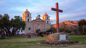 Old Mission Santa Barbara at Sunset Stock Images