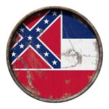 Old Mississippi flag. 3d rendering of a Mississippi State flag over a rusty metallic plate. Isolated on white background Royalty Free Stock Photos