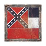 Old Mississippi flag. 3d rendering of a Mississippi State flag over a rusty metallic plate wit a rusty frame. Isolated on white background Royalty Free Stock Image