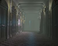 An old misty hallway. 3d render of an old dark misty hallway lit with candles Royalty Free Stock Image