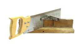 Old miter box with saw Royalty Free Stock Photography