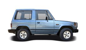 Old Mitsubishi Pajero. Side view isolated on white Royalty Free Stock Image
