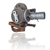 Old 16mm movie camera seen from wind-up side Royalty Free Stock Photo