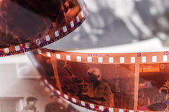 Old 35 mm twisted film Royalty Free Stock Photo