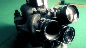 Old 16 mm vintage movie camera. This is footage of Old 16 mm vintage movie camera stock video