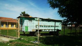 Old mobile apiary-trailer stock photo