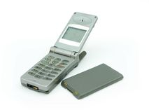 Old mobile phone with its battery Royalty Free Stock Image