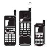 Old mobile phone set 90's. Black and white vector Royalty Free Stock Photo