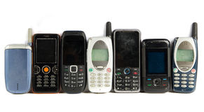 Old Mobile phones. Isolated on white Royalty Free Stock Images