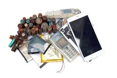 Electronic waste. Old mobile phones and battery / Electronic waste concept royalty free stock image