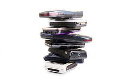Old mobile phones stock images