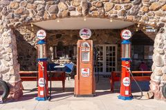 Mobilgas pumps along the route 66 stock images