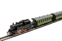 Old model of a passenger train stock photo