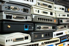 Old modems, routers, network equipment. Serial, phone, audio, et Royalty Free Stock Photos